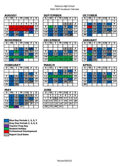 Color Coded Calendar
