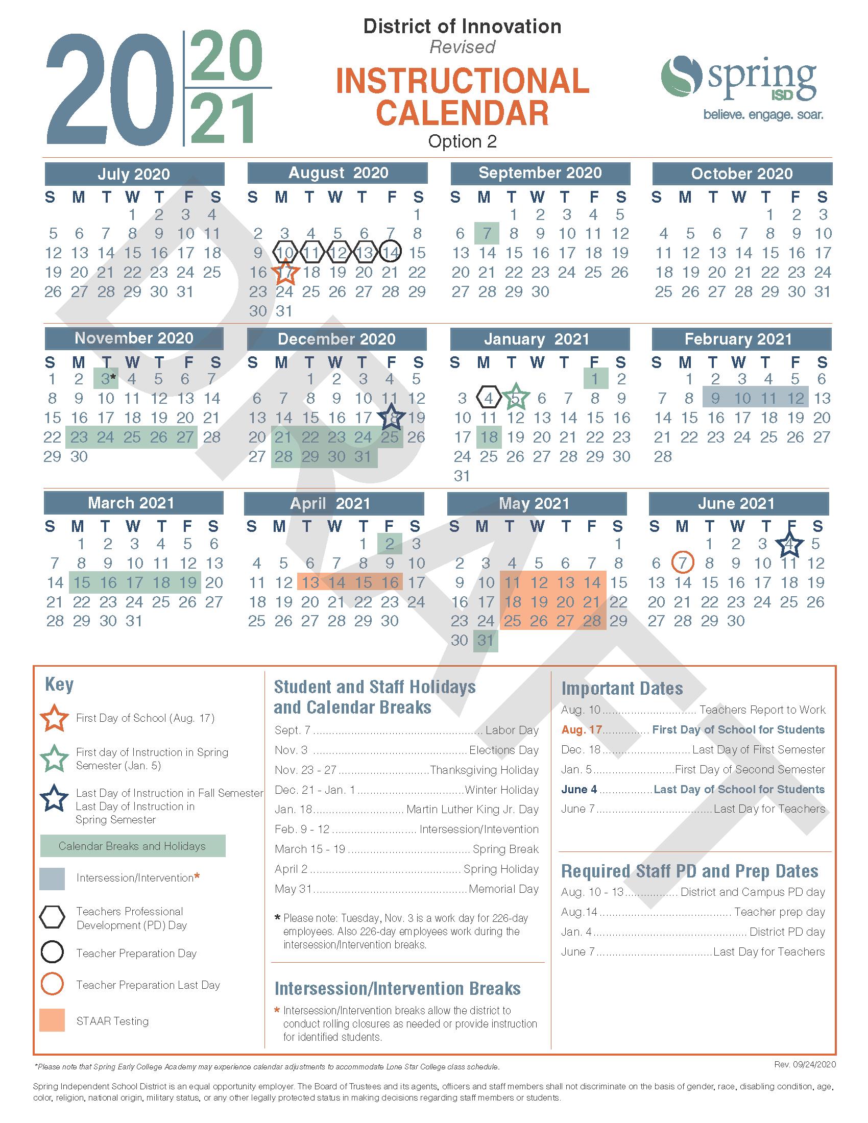 Calendar Survey / Revised 2020 21 Instructional Calendar