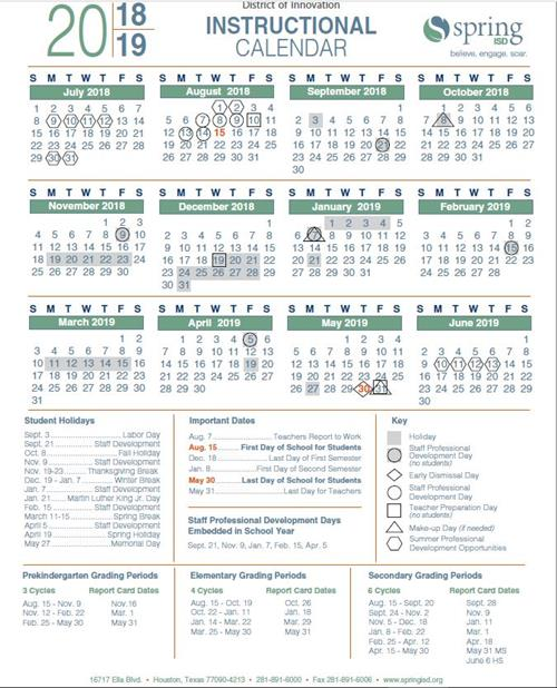 Spring Isd Calendar 2019 Bell Schedule & Instructional Calendar / Home