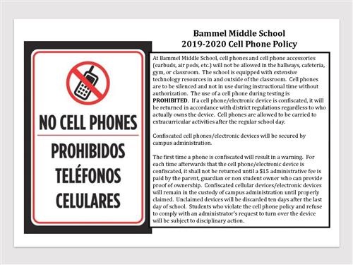 BMS 2019-20 Cell Phone Policy