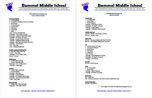 BMS 2019-20 School Supply List