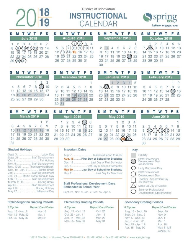 Spring Isd Calendar 2020 Roberson Middle School / Homepage