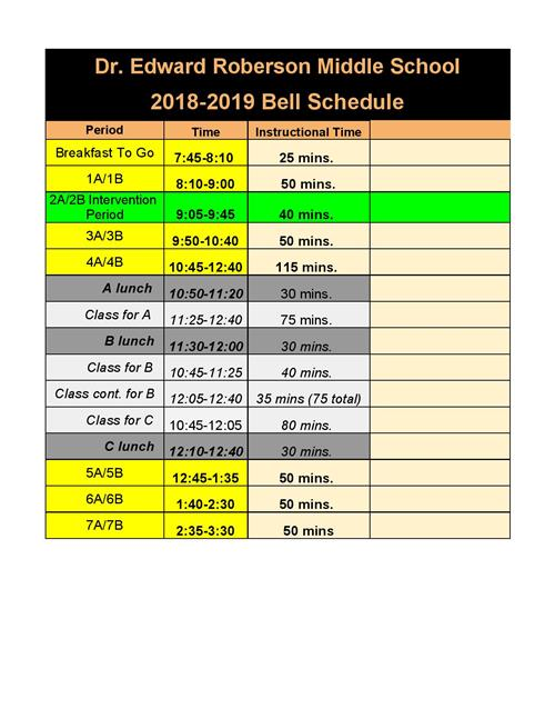 2018-2019 RMS Bell Schedule