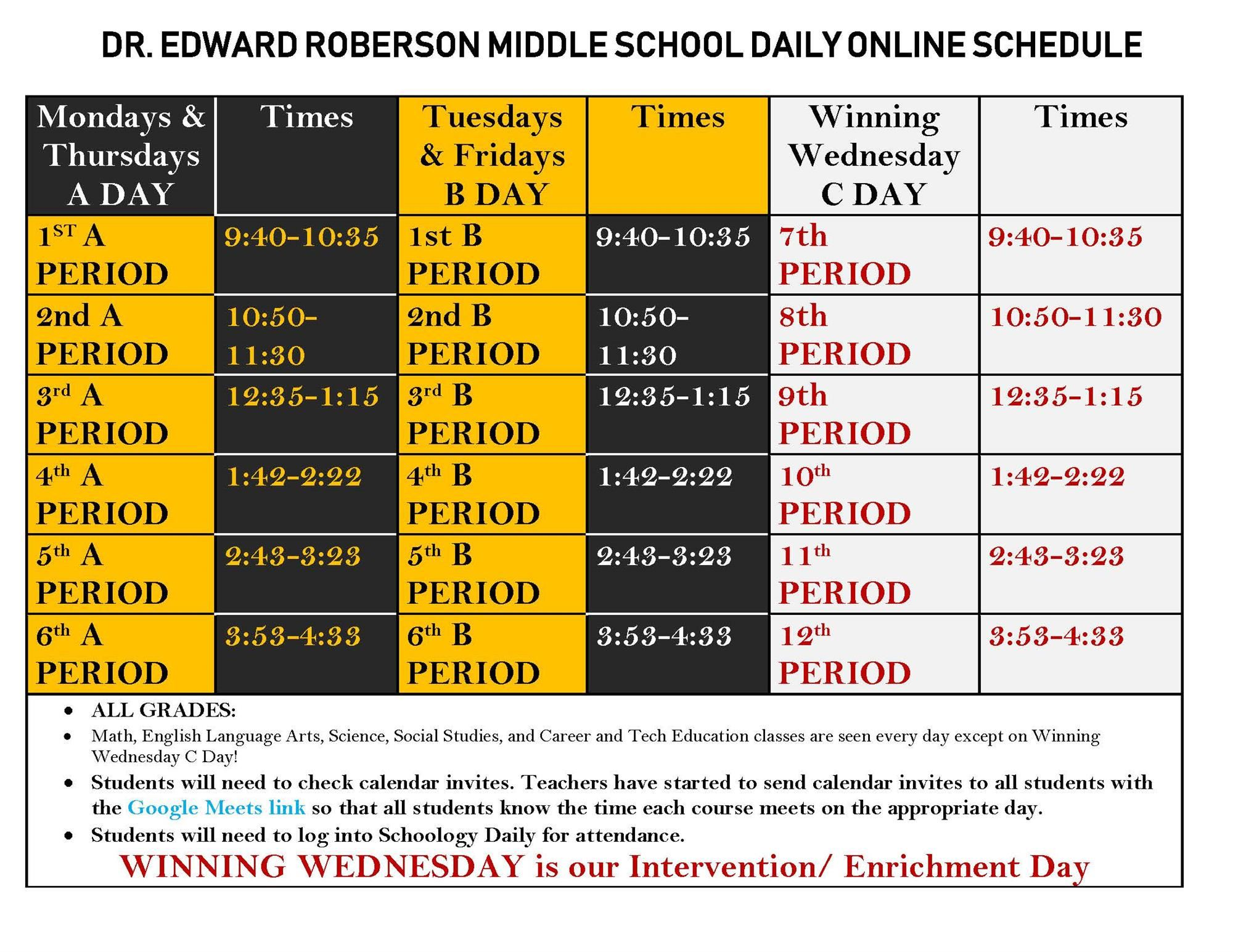 RMS Daily Schedule