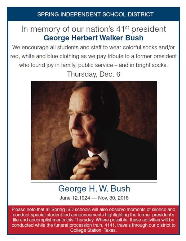 In memory of George H. W. Bush