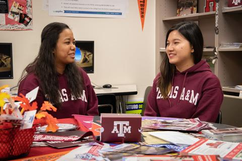 Seniors Holly Rabano and Rachel Ng discuss the future as they prepare to attend Texas A&M University after graduation