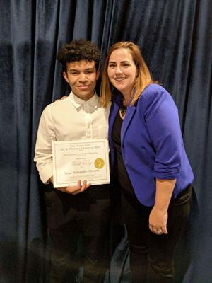 Spring High School senior Josue Hernandez-Navarro, on left, with art teacher Amanda Beisert at the regional awards ceremony
