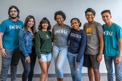 Seniors Kevin Bonilla, Diana Salmeron, Emily Castillo, Chrishawna Johnson, Brianna Johnson, Olger Carcache and Nathan Tutop are among the Spring ISD EMERGE Fellows who participated in summer learning opportunities to support their college and career goals
