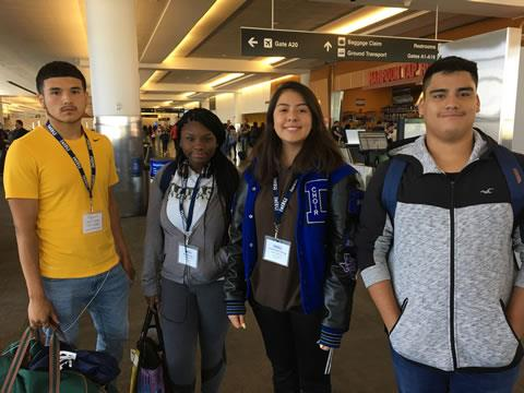 Rising Dekaney Senior Eric Garcia along with classmates Mya Frazier, Yesenia Ruelas Reynaga and Leonard Diaz pause for a group photo during the EMERGE Summer College Tour to Boston