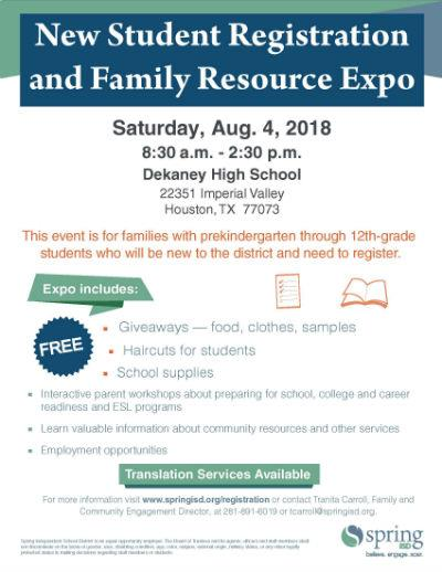 Families Invited to Attend Spring ISD New Student