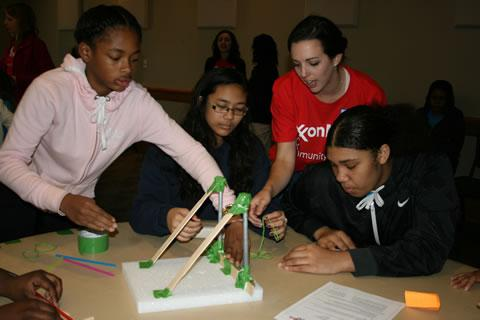 Spring ISD middle school girls team up at the ExxonMobil Girls Engineering Festival