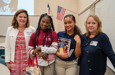 Constituting America presenters Cathy Gillespie and Jeanette Krayneck with Bailey Middle School students Luna M. and Tamia M.