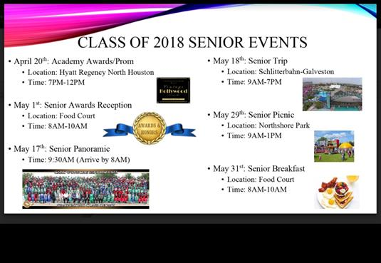 ... CWHS Senior Events 2018 ...