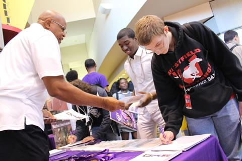 Spring ISD students learn about educational opportunities at a Prairie View A&M University mini fair on the Westfield campus
